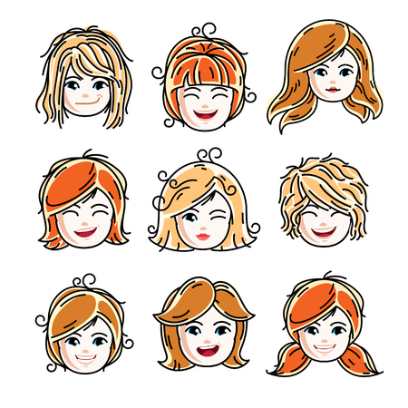 Collection of cute smiling girls faces expressing positive emotions, vector human head illustrations. Set of red-haired and blonde teenage girls with beautiful face features, clipart.