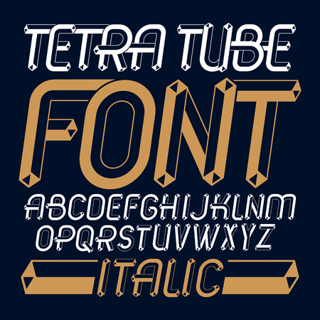 Set of trendy fun  vector capital English alphabet letters isolated. Special italic type font, script from a to z can be used for logo creation. Made using tetrahedral tetra tube design.
