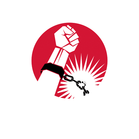 Slave red arm with clenched fist in shackles breaks the chain. Freedom for the prisoners. Illustration