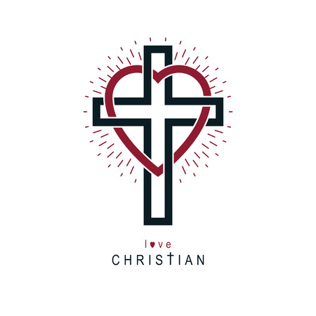 Love of God vector creative symbol design combined with Christian Cross and heart, vector logo or sign. Illustration