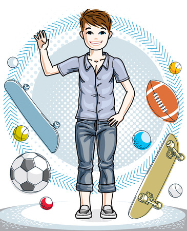 Little boy cute child standing in stylish casual clothes. Vector human illustration. Fashion and lifestyle theme cartoon. Illustration