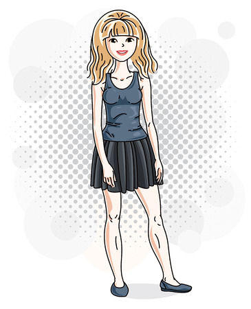 Attractive young blonde woman standing on background with bubbles and wearing casual clothes. Vector human illustration.