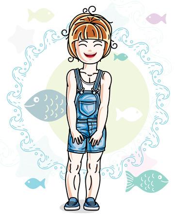 魚と海洋の背景にポーズとファッショナブルなカジュアルな服ベクトル文字を着て幸せな小さな赤髪の女の子。