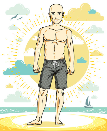 Handsome bald man posing on tropical beach in colorful shorts. Vector character. Summer holidays theme. 일러스트