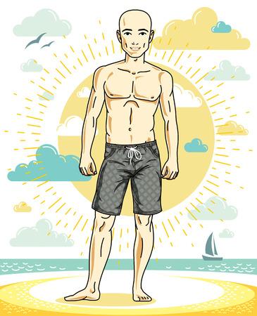 Handsome bald man posing on tropical beach in colorful shorts. Vector character. Summer holidays theme. Illusztráció