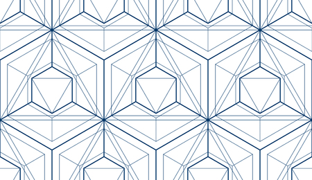 Geometric cubes abstract seamless pattern, 3d vector background. Technology style engineering line drawing endless illustration. Single color, black and white. Usable for fabric, wallpaper, wrapping, web and print. Ilustrace