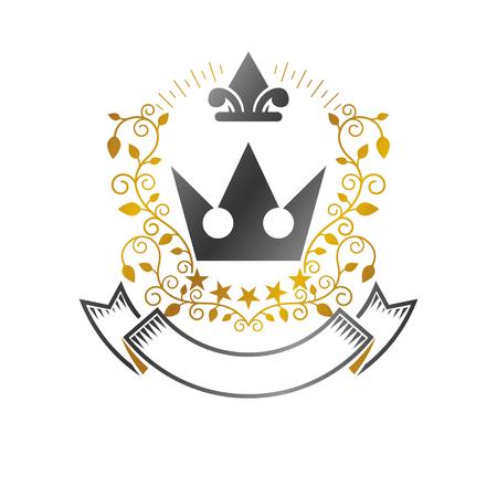 Royal Crown emblem. Heraldic vector design element. Retro style label, heraldry logo. Ornate logotype isolated on white background. Illustration