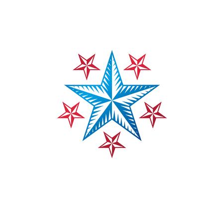 Ancient Star emblem. Heraldic vector design element, 5 stars award symbol. Illustration