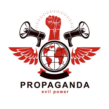 Marketing poster composed with megaphone device, Earth globe and raised clenched fist of revolutionary person, vector illustration. Propaganda as a powerful weapon of global influence on social behavior Vettoriali