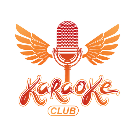 Studio microphone audio equipment created using bird wings, live music concert vector invitation emblem. Music and art makes you free, karaoke club lettering.