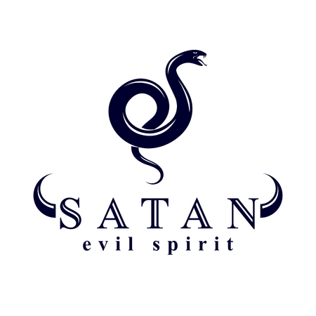 Vector poisonous snake, evil spirit black graphic vector emblem. Иллюстрация