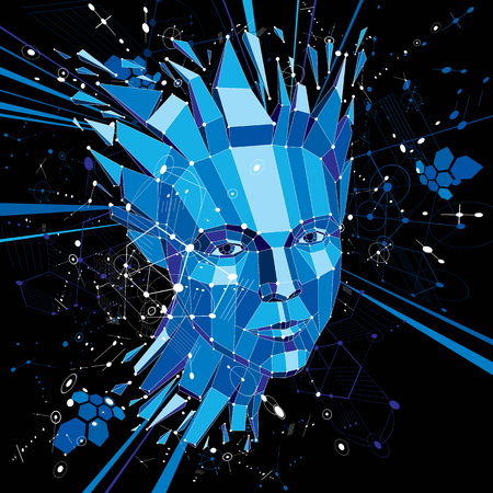 Artificial intelligence head, low poly style 3d vector wireframe shattered object. Modernistic background can be used in projects on subject of human intelligence and imagination. Illustration