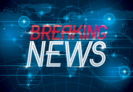 Breaking News vector background, world news TV or internet channel translation, illustration with world map and typing, news website or blog, live news, video or articles. Vector design.