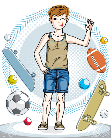Little boy standing wearing casual clothes. Vector character. Fashion and lifestyle theme cartoon.