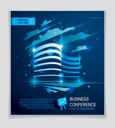Office building brochure, modern architecture vector flyer with blurred lights and glares effect. Real estate business center blue design. 3D futuristic facade business conference print template.