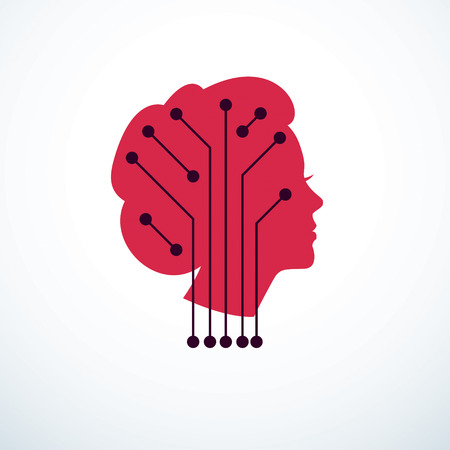 Computer human android bot, artificial intelligence concept. Human profile with electronics elements icon. Vector logo design. Smart software, idea of intelligent machines and digital mind.