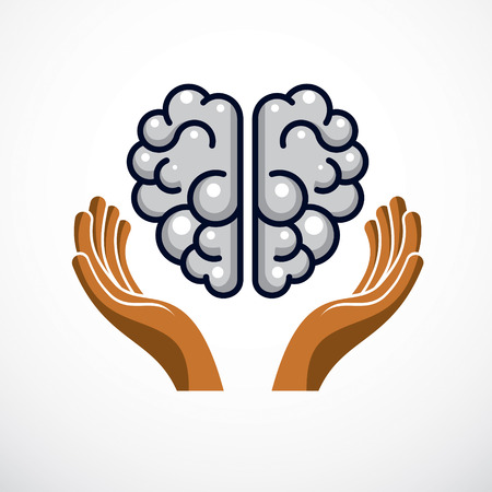 Human anatomical brain with tender defending hands of care. Vector illustration, logo or icon. Care for mental health, careful and correct education concept. Archivio Fotografico - 95315221