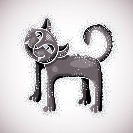 Cute cartoon doodle gray cat vector illustration, nice pet standing.