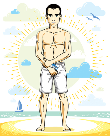Handsome man adult standing on tropical beach in bright shorts. Vector nice and sporty man illustration. Summertime theme clipart.