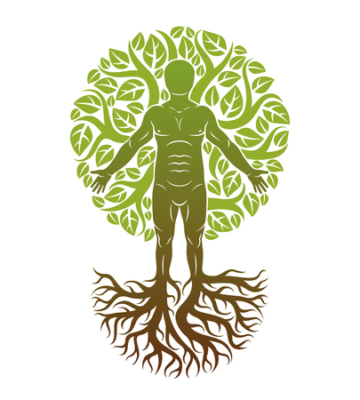 Vector illustration of human being created as continuation of tree with strong roots and made using natural green leaves. Human growth and personality development concept.   Vettoriali