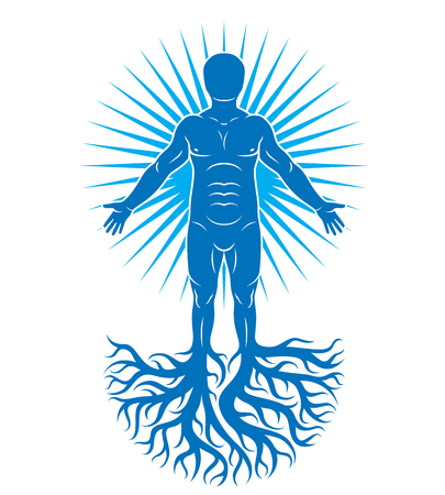 Vector art illustration of human being made using tree roots. Eco friendly living, human and nature harmony concept. 일러스트