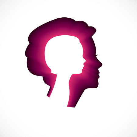 Psychology, mental health vector design, created with woman head profile and little child girl inside, inner child concept, origin of human individuality and psychic problems. Therapy and analysis.