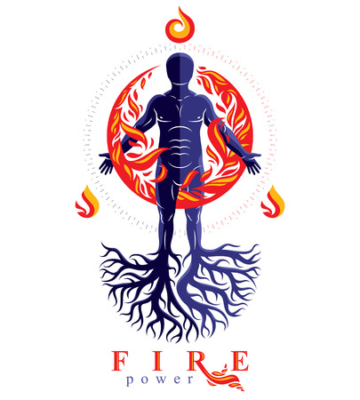 Vector illustration of human being created with tree roots. Human and nature harmony, fire man covered with a fireball. Stock Vector - 95315335