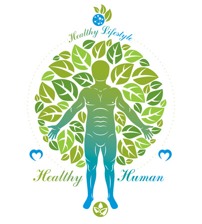 Vector illustration of human, athlete surrounded by green tree leaves. Wellness and harmony metaphor.