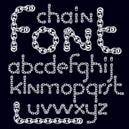 A Vector English alphabet letters collection. Lower case decorative font created using connected chain link.