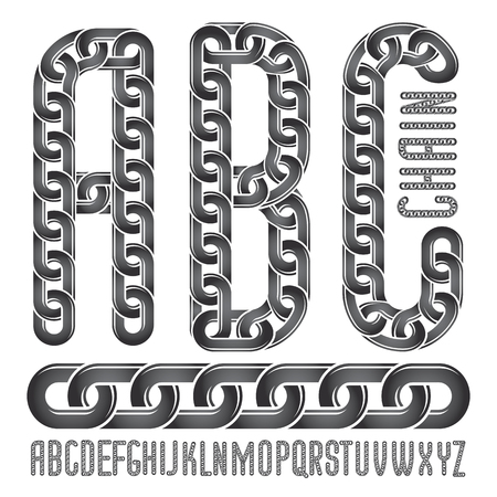 A Vector font, trendy typescript can be used in poster creation. Upper case creative letters, abc made with steel chain link, joined link. Ilustração