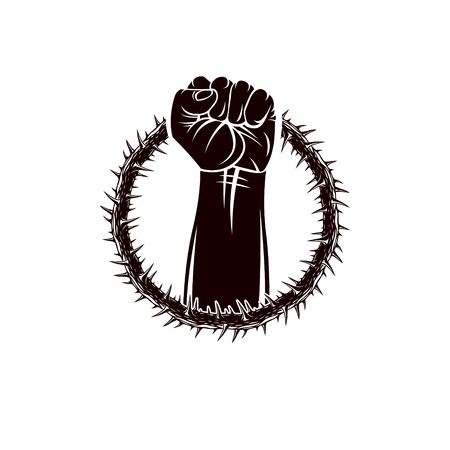 Vector illustration of muscular clenched fist of strong man raised up and surrounded by thorn wreath. Revolution leader concept, civil war abstract illustration.