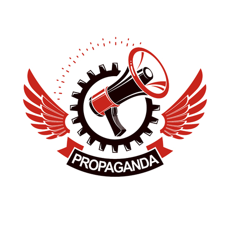 Vector winged logo composed with megaphone equipment surrounded by engineering cog wheel. Proletarian revolution abstract sign, political propaganda.