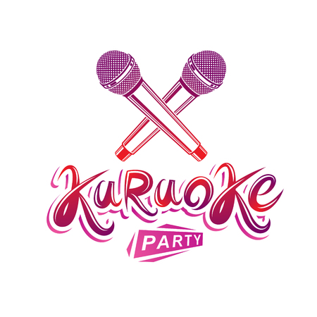 Karaoke party lettering, rap battle vector emblem created using two crossed microphones audio equipment.