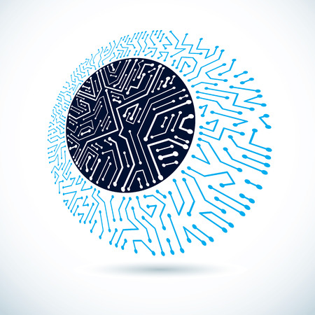 Technology communication round cybernetic element. Vector abstract illustration of circuit board. Illustration