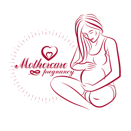 Pregnant female body shape hand drawn vector illustration, beautiful lady gently touching her belly. Maternity hospital advertising flyer