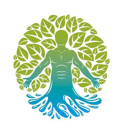 Vector graphic illustration of human, individuality emerging from water wave and surrounded by eco green leaves. Wellness and harmony metaphor, restoring to health concept.