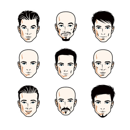 Collection of Caucasian men faces expressing different emotions, vector human head illustrations. Vetores
