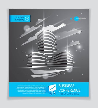 Office building brochure, modern architecture vector flyer with blurred lights and glares effect. Vettoriali