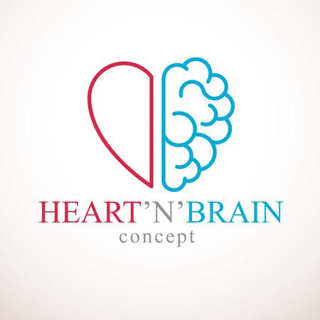 Concepto de corazón y cerebro, conflicto entre emociones y pensamiento racional, trabajo en equipo y equilibrio entre alma e inteligencia. Diseño de logotipo o icono de vector. Logos