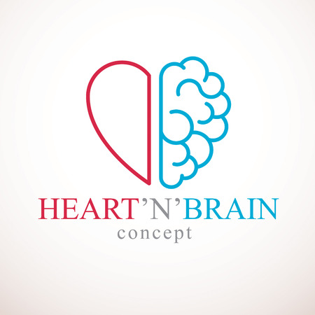 Heart and Brain concept, conflict between emotions and rational thinking, teamwork and balance between soul and intelligence. Vector logo or icon design. Vectores