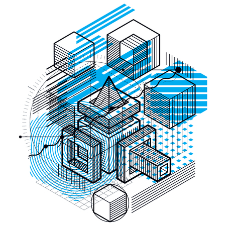 Vector background with abstract isometric lines and figures. Illustration