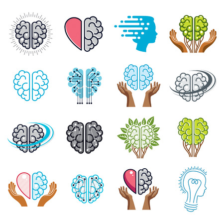 Brain and intelligence vector icons or logos concepts set.