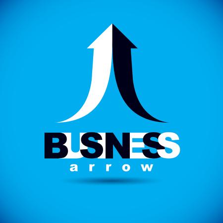 Vector rising arrow. Business success conceptual logo. Company development trend. Illustration