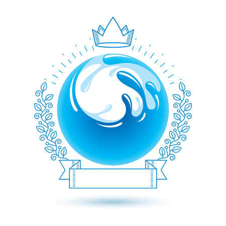 Ocean freshness theme vector symbol for use in spa and resort organizations. Body cleansing concept.Mineral water advertising. 矢量图像