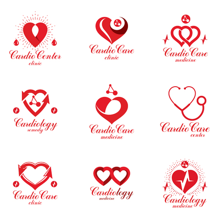 Red heart shapes made using ecg charts and caring hands. Set of cardiovascular system diseases remedy conceptual vector logotypes for use as cardio center emblems. Illustration