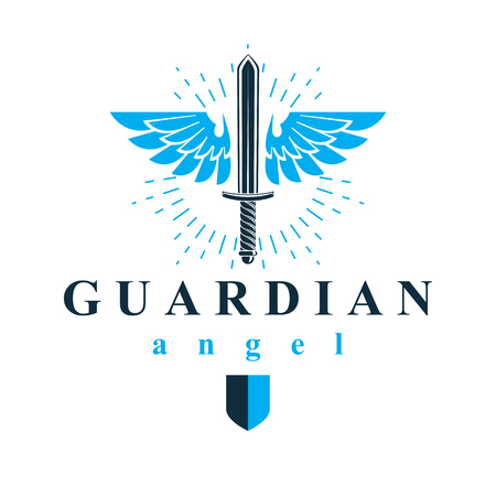 Vector graphic illustration of sword composed with bird wings, war and freedom metaphor symbol. Guardian angel vector abstract emblem.