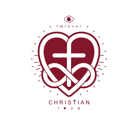 True Infinite Christian Love and Belief in God, vector creative symbol design, combined with infinity eternal loop and Christian Cross, vector logo or sign. Illustration