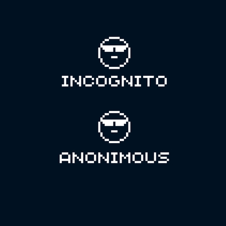 Unidentified person, incognito. Vector flat 8 bit icon, simple geometric pixel symbol. Digital web sign.  Çizim
