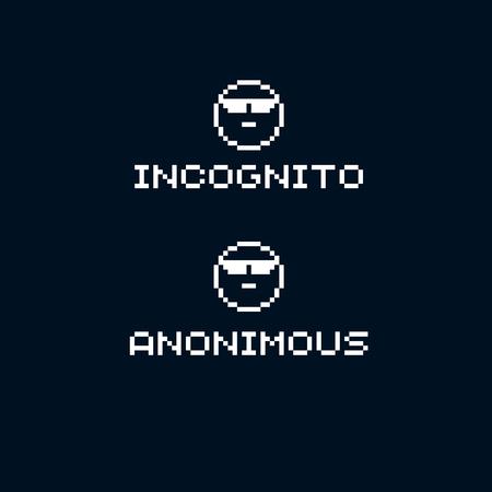 Unidentified person, incognito. Vector flat 8 bit icon, simple geometric pixel symbol. Digital web sign.  Çizim