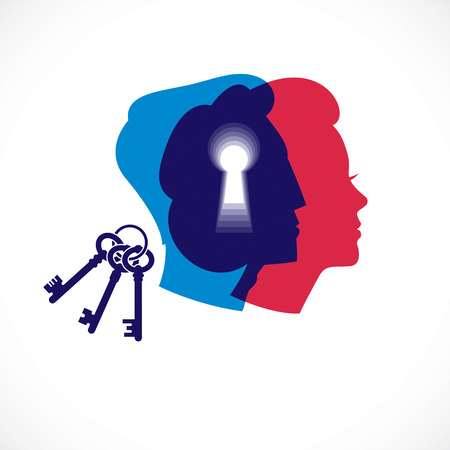 Gender psychology concept created with man and woman heads profiles and keyhole with key of understanding. Vector logo or illustration of relationship problems and conflicts in family and society.